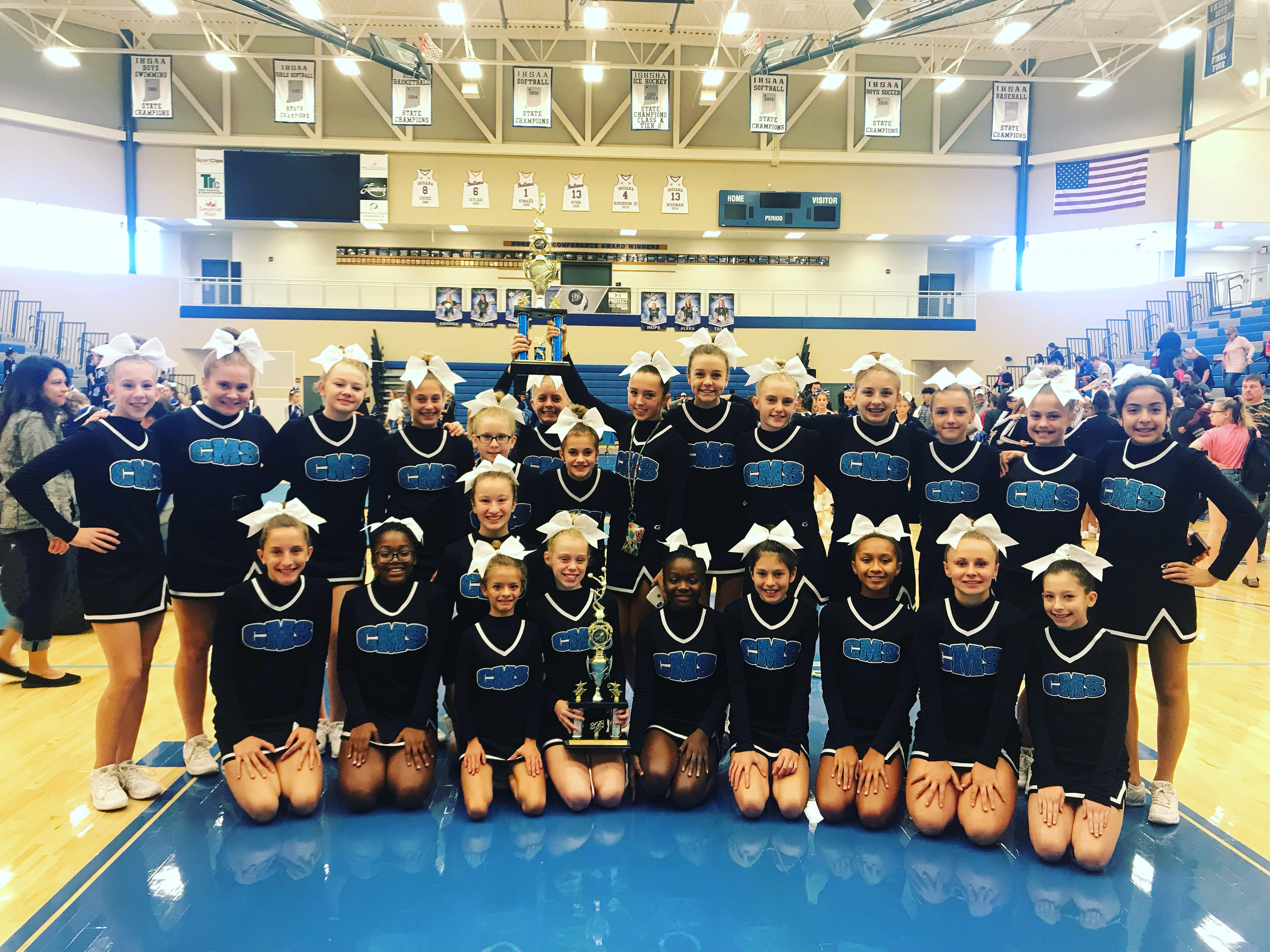 Congratulating the Clark cheer team on their First Place in the Time Out Division, and 3rd place in the Junior High Division at the Lake Central Competition on Saturday Sept 22nd.